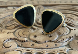 Authentic Vintage Gold Tone Onyx Cufflinks - Stamped Smart Brand