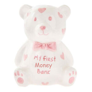 MINI Teddy Money Box - White with Hearts - My First Money Bank - Choose Colour
