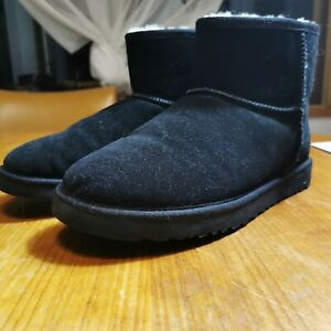 Ugg Boots Black Mens US 10 Short Boots Lambskin Warm Slippers