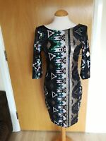 Ladies RIVER ISLAND Dress Size 10 Black Full Sequin Mini Wiggle Party Evening