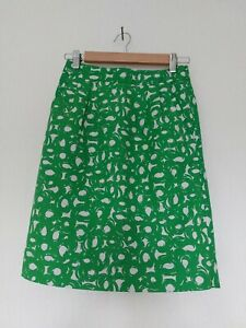 Boden Size 6 Skirt Regular 6R Ladies Green Cotton Linen Summer Occasion