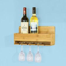 SoBuy Weinregal mit Weinglashaltern,Flaschenregal,Wandregal aus Bambus FRG73-N