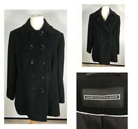 Ladies Italian Wool Blend Double Breasted Pea Over Coat Black Size UK 20