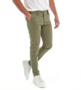 Pantalone Uomo Lungo Tinta Unita Verde Tasca America Chino Slim GIOSAL