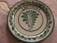 "Vintage Hand Painted Stoneware Lewisburg Plate (Signed), 8 3/4"" Diameter"