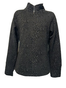 Lucy Gray & Black Animal Print 1/4 Zip Pullover Sweatshirt Women's Size M