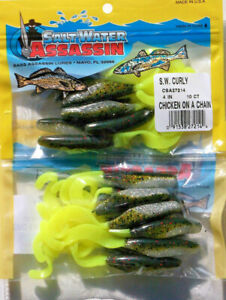 """20 SALTWATER BASS ASSASSIN 4"""" CHICKEN-ON-A-CHAIN CURLY SHAD"""