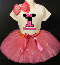 MINNIE MOUSE **With NAME** 1st first 1 Birthday Fuchsia Tutu dress Fast Shipping