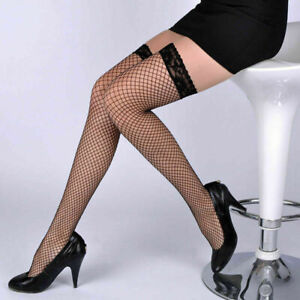 New Womens Sexy Black Fishnet Hold Up Stockings with Lace Top One Size 8-14