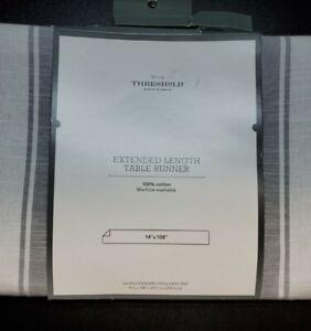 "Threshold Cotton Striped Bistro Table Runner Gray 108 x 14"""