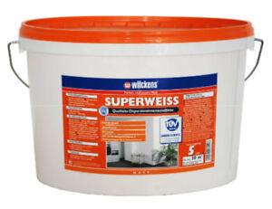 (3,00€/1l) WILCKENS Superweiss Wandfarbe Dispersion Farbe WEISS MATT 5 Liter