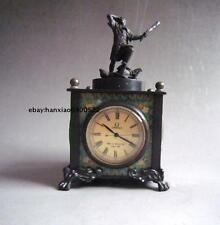 Old Peiking Bronze Handwork person Mechanical Table Clock Statue