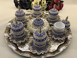 Ottoman Turkish Arabic Evil Eye Chamomile Coffee Set 6 cups