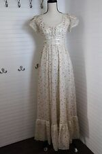 70s Gunne Sax Lace Boho Peasant Ditsy Floral Long Dress Size 5 Waist Size 26""
