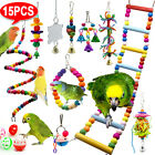15X+Parrot+Toys+Metal+Rope+Small+Ladder+Stand+Budgie+Cockatiel+Cage+Bird+Toy+Set