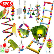 15x Parrot Toys Metal Rope Small Ladder Stand Budgie Cockatiel Cage Bird Toy Set