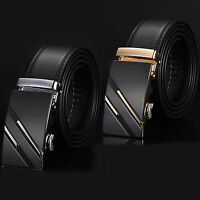 Business Mens Genuine Leather Automatic Buckle Waist Waistband Strap Belts Black
