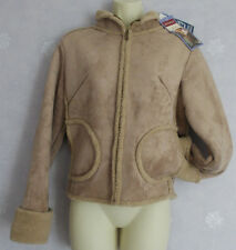 New Ladies beige faux suede jacket with fur trim Size S