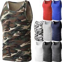 Mens TANK TOP Heavy A-Shirt Camo Cotton Basic Muscle Gym Workout Sleeveless Tee