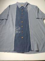 Caribbean Mens Embroidered Hawaiian Shirt Size 2XLT Short Sleeve 100% Silk