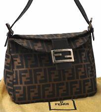 Authentic FENDI Zucca Mamma Baguette Shoulder Bag Canvas Leather Brown B5172