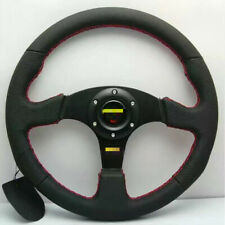 Universal Flat Steering Wheel 350mm LEATHER RED STITCH for OMP MOMO
