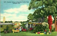 Vintage 1952 Linen Postcard Tropical Living in Sarasota Trailer Park Florida