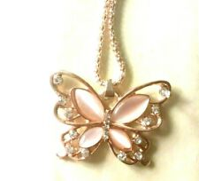 "BUTTERFLY NECKLACE ON 26"" CHAIN - NEW PINKY GOLD COLOUR"