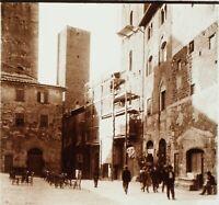 ITALIE San Gimignano la Rue, Photo Stereo Plaque Verre ca 1910