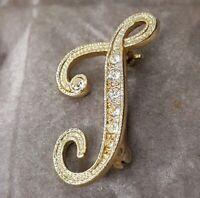 Rare Vintage Letter J Paste Gold Tone Brooch Diamante Gift Costume Jewellery
