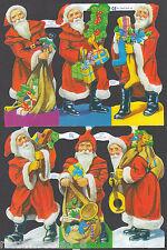 SANTA CHRISTMAS SCRAP PAPER EMBOSSED ENGLISH ORNAMENT SIX LARGEL MACHE CARD