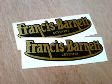 FRANCIS BARNETT Gold Lettering Vintage Classic Motorcycle Stickers 2 off 125mm
