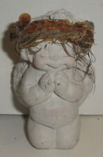 Vintage Praying Angel Figure - 1993 K-Resin Handcrafted White Wreath Kneeling