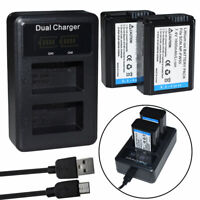 2x Battery+ Charger For Sony NP-FW50 DSC-RX10/M2/M3/M4 A6000 A6300 A6400 A6500