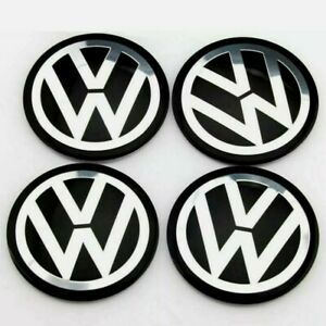 Set Of 4 Black Chrome Wheel Centre Hub Caps Stickers Emblem Badge Car Logo 65mm