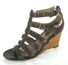 Ecco Shoes Sz 39 Sandals Gladiator Wedge Heels Brown Leather Ankle Strap 8 8.5
