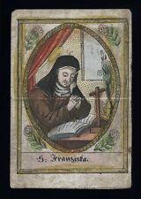 santino incisione 1800 S.FRANCESCA DELLE CINQUE PIAGHE dip. a mano