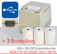 USB RS232 BONDRUCKER KASSENDRUCKER BONPRINTER NCR-7197 WINDOWS 7 XP 3xBONROLL