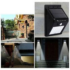 20 LED Outdoor Solar Powered PIR Motion Sensor Security Shed Wall Light Lamp