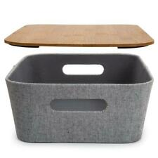 Truu Design Modern Woven Paper Fabric Storage Basket with Bamboo Lid Grey