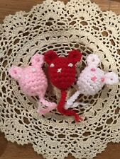 3 Catnip Mice Hand-Crocheted Organic Cat Toy Red Pink Toys for Kitty Free Ship