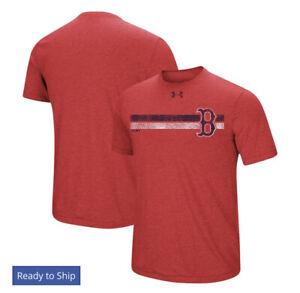 Boston Red Sox Under Armour Stripe Logo Tri-Blend T-Shirt - Heathered Red 3XL