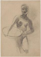 Original 1940s NUDE drawing, Art Deco era, Austrian artist Peter TÖLZER