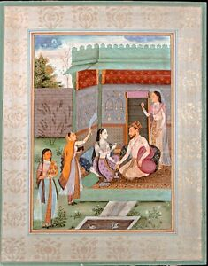 Antique Indian Miniature painting Mughal 19th century