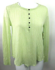 New O'Neill T Shirt Lime Green Ruby Long Sleeve Placket Pullover Curly Hem L