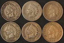 1883 1884 1885 1897 (2) 1907 Indian Head Cents - 6 Coins - Free Shipping USA