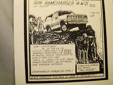 1976 Dodge Ramcharger  Auto Pen Ink Hand Drawn  Poster Automotive Museum