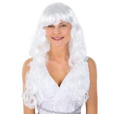 Peluca de Ángel Blanco para Mujer Carnaval Halloween Fiesta de Disfraz Accesorio