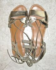 ASOS Women's Gold Ankle Strap Tie Gladiator Leather Sandals Size 7M