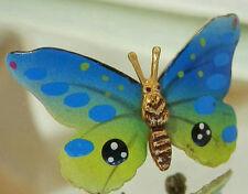 Cute Vintage 40's Blue Green Enamel Butterfly Brooch 264My6